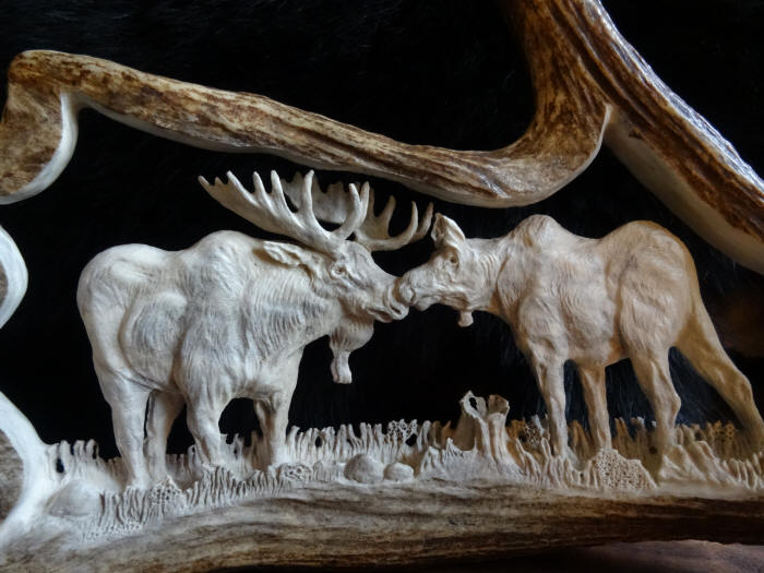 Antler carvings and scrimshaw on