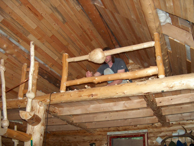 Building Our Log Cabin The Spiral Log Stairs